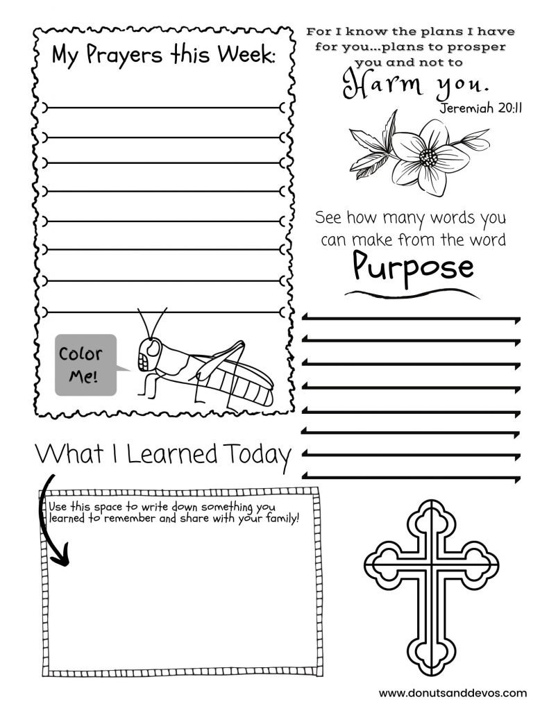 Activity worksheets for kids for the podcast Donuts and Devos.
